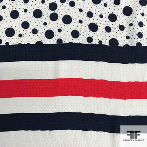 Striped/Polka Dot Printed Silk Pique - Red/White/Blue