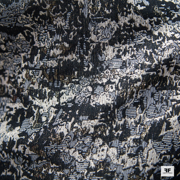 Metallic Abstract Brocade fabric - Gold/Black/White