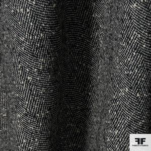 Herringbone Wool Tweed - Black/Ivory