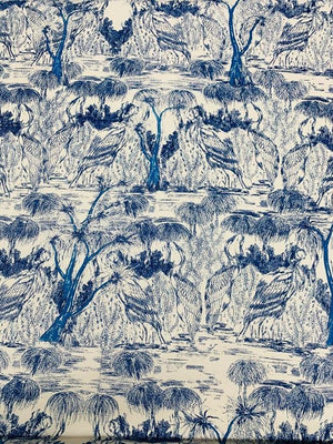 Toile-Like Faille Printed Cotton - Blue / Ivory