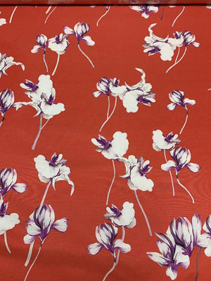 Floral Stems Faille Printed Cotton - Deep Coral / White / Purple