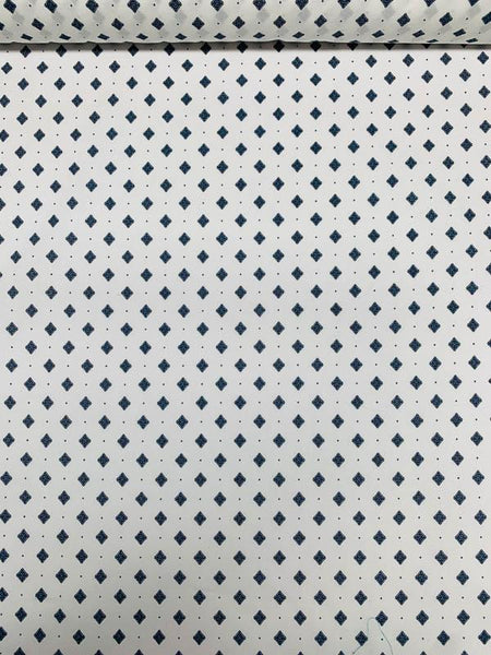 Japanese Fine Geometric Printed Cotton - Navy / White