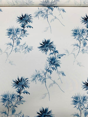 Painterly Floral Printed Cotton Silk Faille - Blue / White
