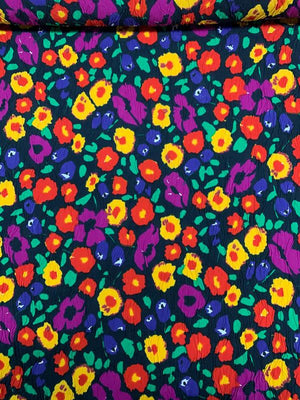 Swiss Floral and Ruched Printed Cotton Jacquard - Multicolor