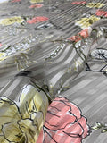 Bicycles and Flowers on Vertical Striped Burnout Silk - Taupe / Multicolor