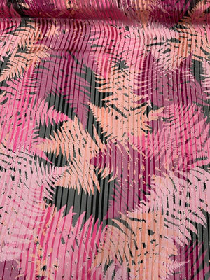 Tropical Leaf Printed Vertical Stripes with Lurex Pinstripes Burnout Silk - Magenta / Pink / Black / Gold