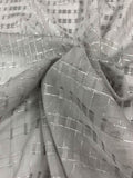 Geometric Windowpane with Lurex Burnout Silk - Grey / Silver