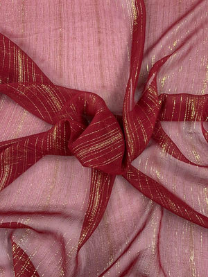 Vertical Lurex Pinstripe Crinkled Silk Chiffon - Burgundy / Gold