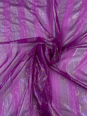 Multicolor Vertical Lurex Pinstripe Silk Chiffon - Purple / Metallic