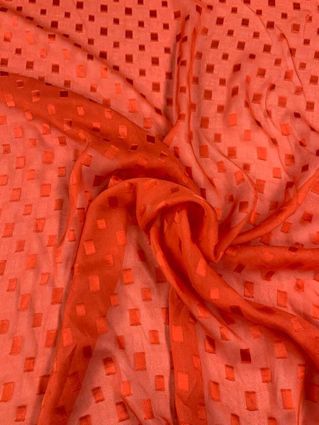 Rectangles Burnout Silk Chiffon - Orange-Red