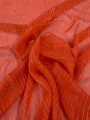 Vertical Lurex Pinstripe Crinkled Silk Chiffon - Orange-Red / Gold