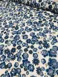 Whimsical Floral Printed Cotton Silk Voile - Blue / White / Olive Green