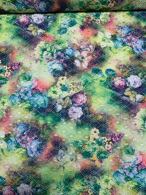 A Floral Dream Printed Embroidered Eyelet Polyester - Multicolor