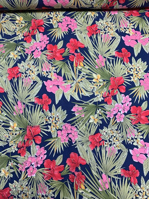 Tropical Floral Leaf Printed Cotton Linen - Blue / Green / Pink / Coral