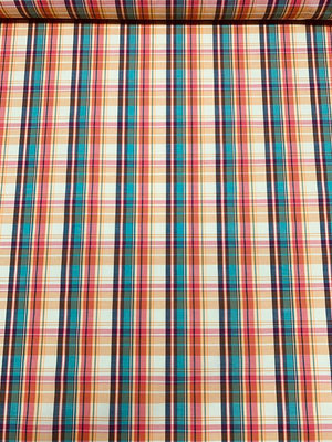 Summery Plaid Yarn-Dyed Cotton Shirting - Multicolor