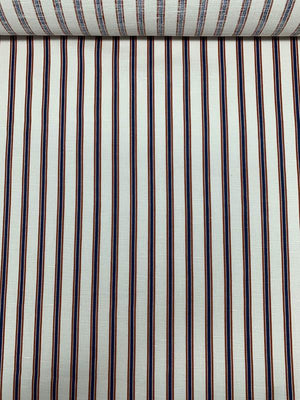 Vertical Striped Printed Linen - Off-White / Blue / Saddle