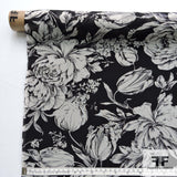 Floral Printed Silk Chiffon - Black/White