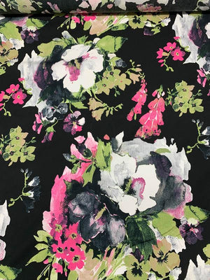 Bold Floral Printed Cotton Sheeting - Lime Green / Magenta / Black / Grey