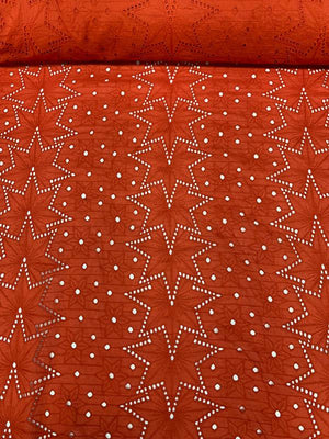 Art Deco Embroidered Cotton Eyelet - Blood Orange