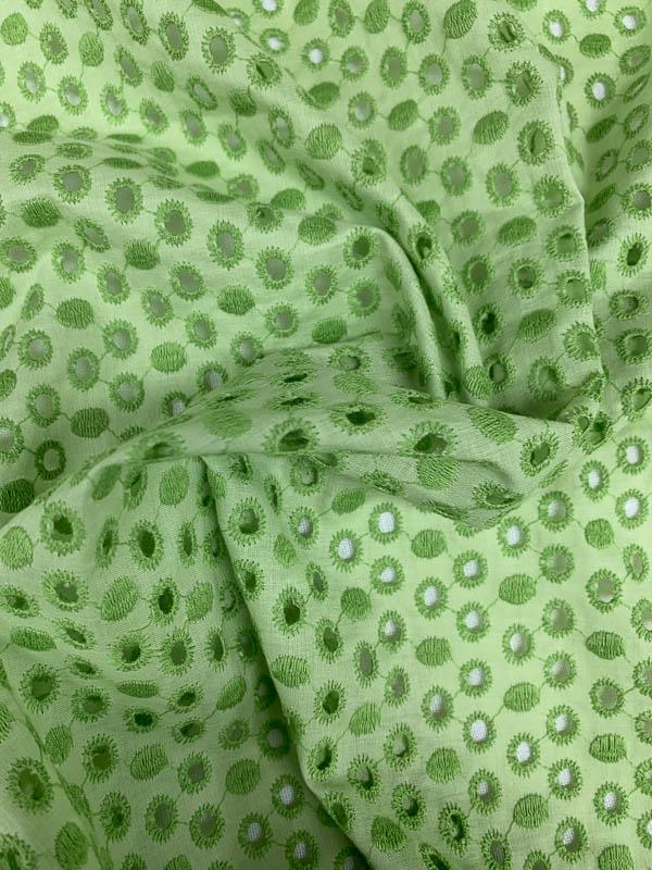 Circles Embroidered Cotton Eyelet - Lime Green