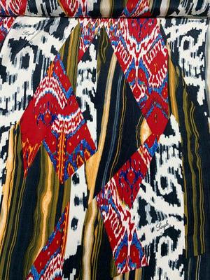 Tribal Vibes Printed Silk Crepe de Chine - White / Black / Red / Multi