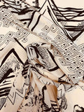 Abstract Printed Silk Crepe de Chine - Tan / Dark Mocha