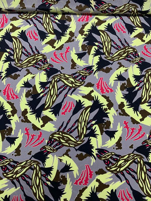 Abstract Floral Printed Silk Crepe de Chine - Grey / Yellow / Magenta / Black