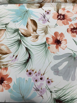 Gentle Watercolor Floral Printed Silk Crepe de Chine - Multicolor