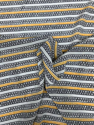 Ethnic Horizontal Striped Printed Silk Crepe de Chine - White / Dark Navy / Yellow
