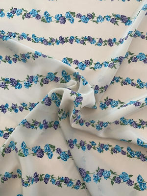 Horizontal Floral Striped Vines Printed Silk Crepe de Chine - Beige / Blue / Purple / Green