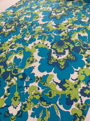 Pucci-esque Printed Silk Crepe de Chine - Teal / Blue / Lime / White