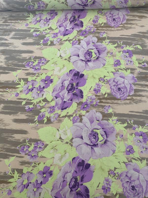 Unique Bold Floral Printed Silk Crepe de Chine - Lavender / Lilac / Lime / Tan