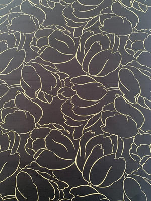 Floral Sketch Printed Silk Shantung - Chocolate / Beige