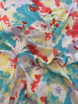 Abstract Printed Silk Crepe de Chine - Multicolor