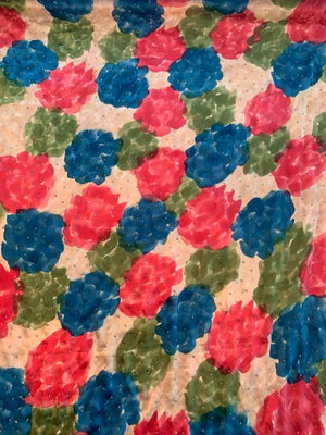 Watercolor Splotches Printed Silk Charmeuse with Beads - Teal / Raspberry / Olive / Cream