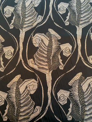 Abstract Printed Silk Charmeuse - Black / Beige