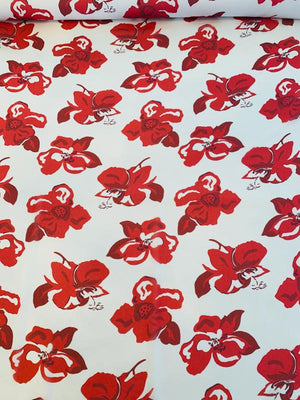 Floral Poppy Printed Silk Chiffon - Red / White
