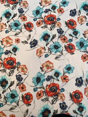 Watercolor Floral Printed Silk Georgette - Dark Orange / Seafoam / White