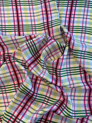 Plaid Printed Silk Twill - Multicolor