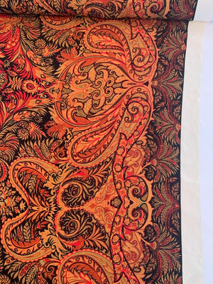 Bohemian Paisley Printed Silk Georgette with Border Pattern - Red / Rust / Black