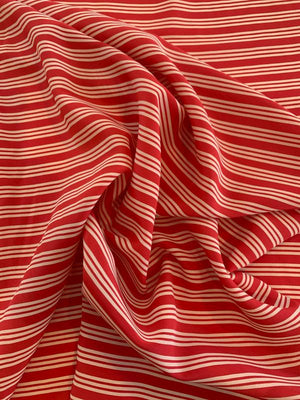 Horizontal Striped Printed Silk Crepe de Chine - Red / Beige