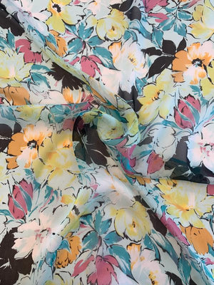 Pretty Floral Printed Silk Chiffon - Multicolor