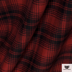 Plaid Double-Faced Wool/Cashmere Coating - Red/Black