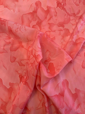 Watercolor Printed Silk and Cotton - Coral