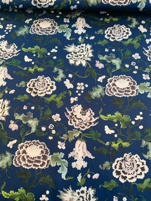 Oriental-Inspired Floral Printed Silk Charmeuse - Navy / Sage / Lilac