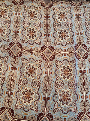 Persian Rug Inspired Printed Light-Weight Silk Charmeuse - Sky Blue / Bordeaux / Peach