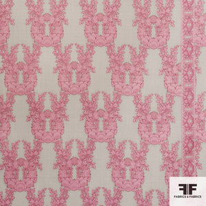 Floral Printed Wool fabric - Pink/Taupe