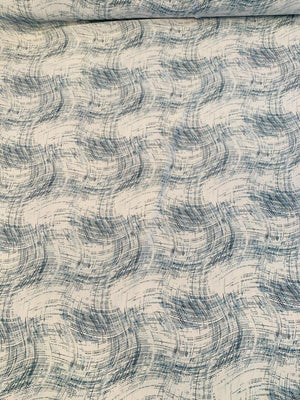 Wavy Sketch Printed Silk Crepe de Chine - Teal / White
