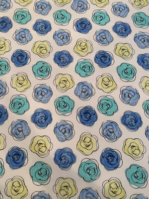 Watercolor Floral Printed Silk Crepe de Chine - Blue / Seafoam / Yellow / White