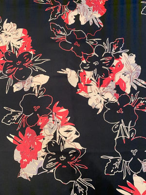Oriental-Inspired Abstract Printed Mini Silk Twill - Black / Coral / Cream